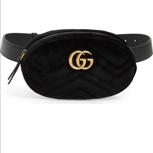 6e3f4927196 Authentic Gucci Marmont Velvet Black Belt Bag New! NWT